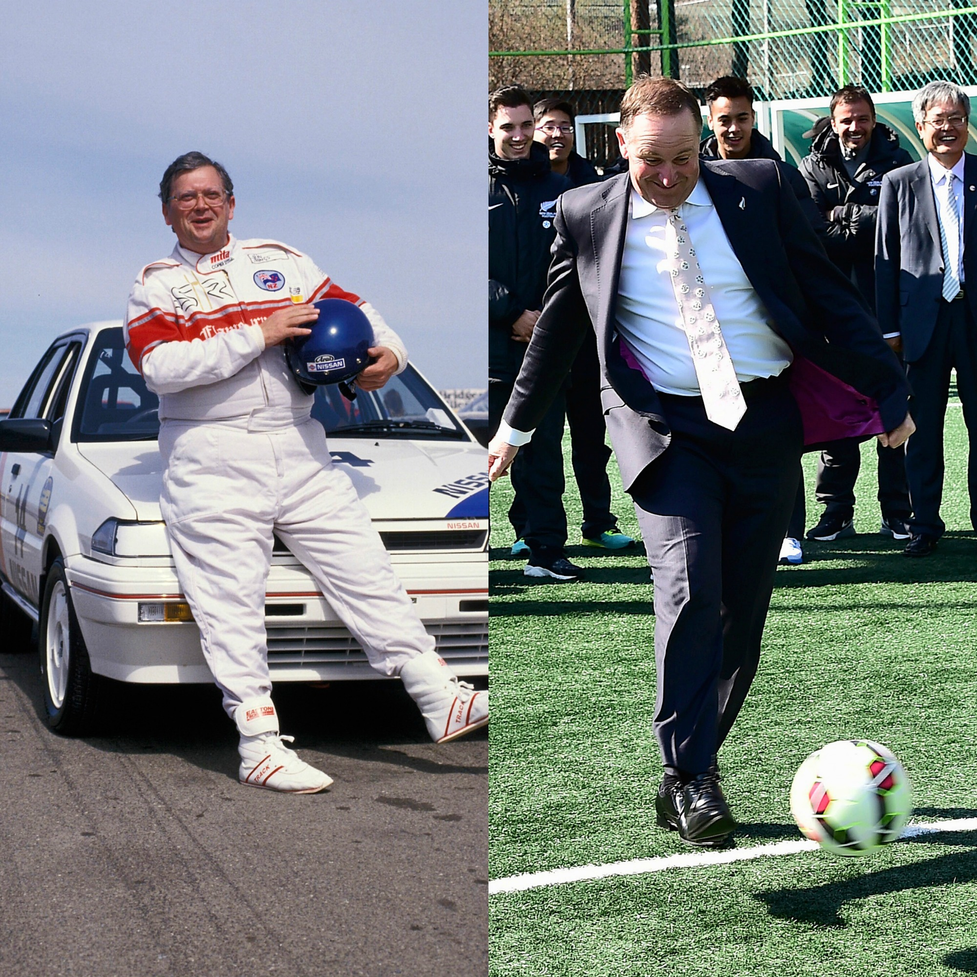 Above left: In Seoul to mark the signing of the New Zealand-South Korea Free Trade Agreement last March. Key shows off his fancy footwork at a soccer clinic held by the All Whites for local students. Above right: Prime Minister David Lange lines up for the Celebrity Race at the 1987 Adelaide Formula One Grand Prix.