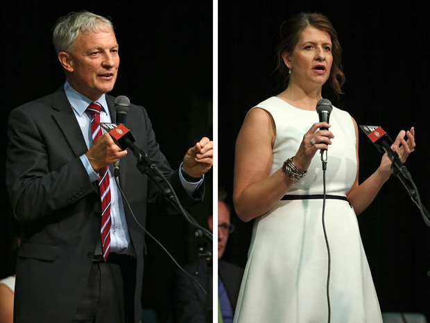 Mayoral candidates Phil Goff and Vic Crone address the first public meeting of the mayoral campaign, in Ellerslie in February. the election is in October.
