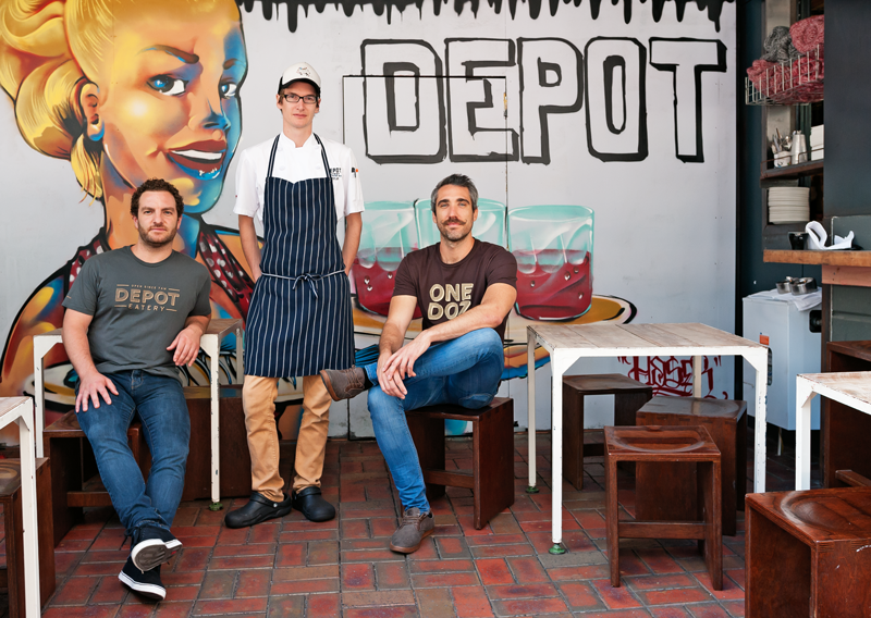 Joe Williams, Kyle Street and Warren Ford at Depot Eatery, Auckland
