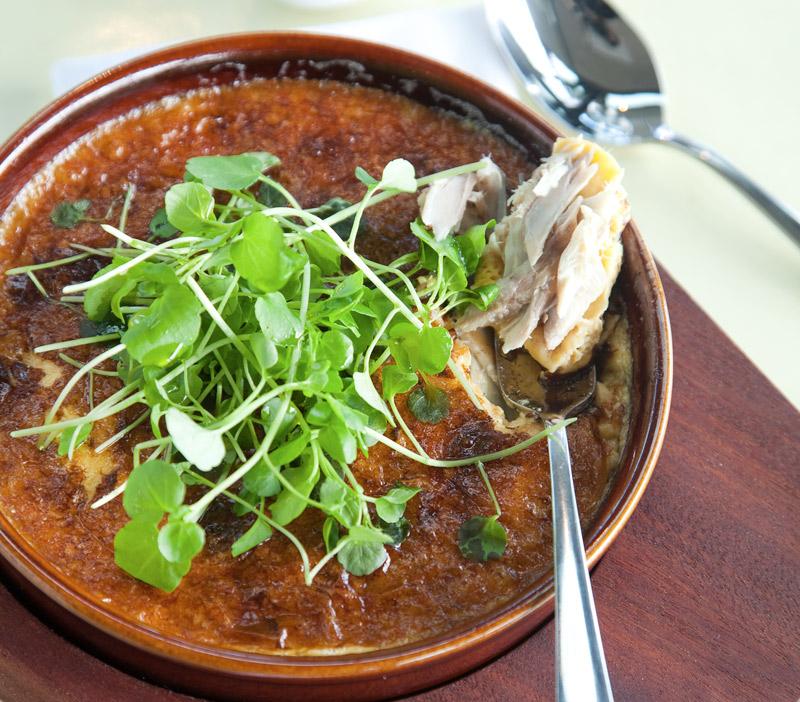 Kawhai omelette at Ostro restaurant, Auckland