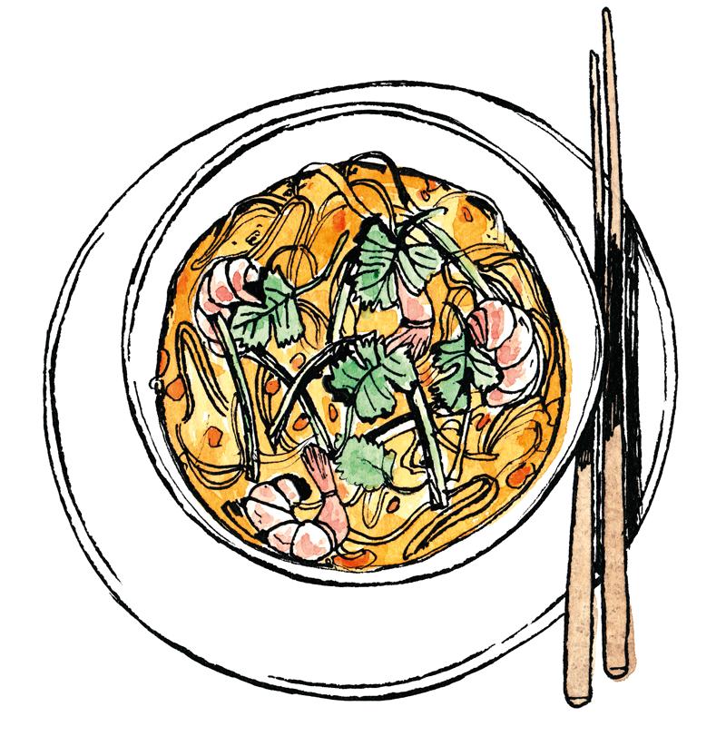 Illustration of bowl of laksa, by Henrietta Harris