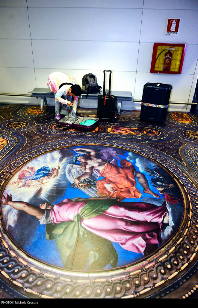 Identity check: Simon Denny transformed the floor at Marco Polo airport.