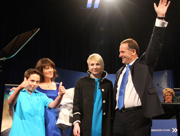 The Keys on election night 2008: Max, mother Bronagh, sister Stephie and father John.