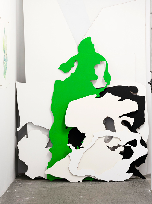 Hikalu Clarke, LONG RANGE LOS, (MDF cut-out shapes, throughout exhibition)