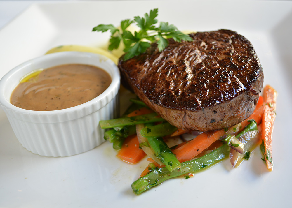 Eye fillet with peppercorn sauce. Photo: Delaney Mes for Metro. All rights reserved.