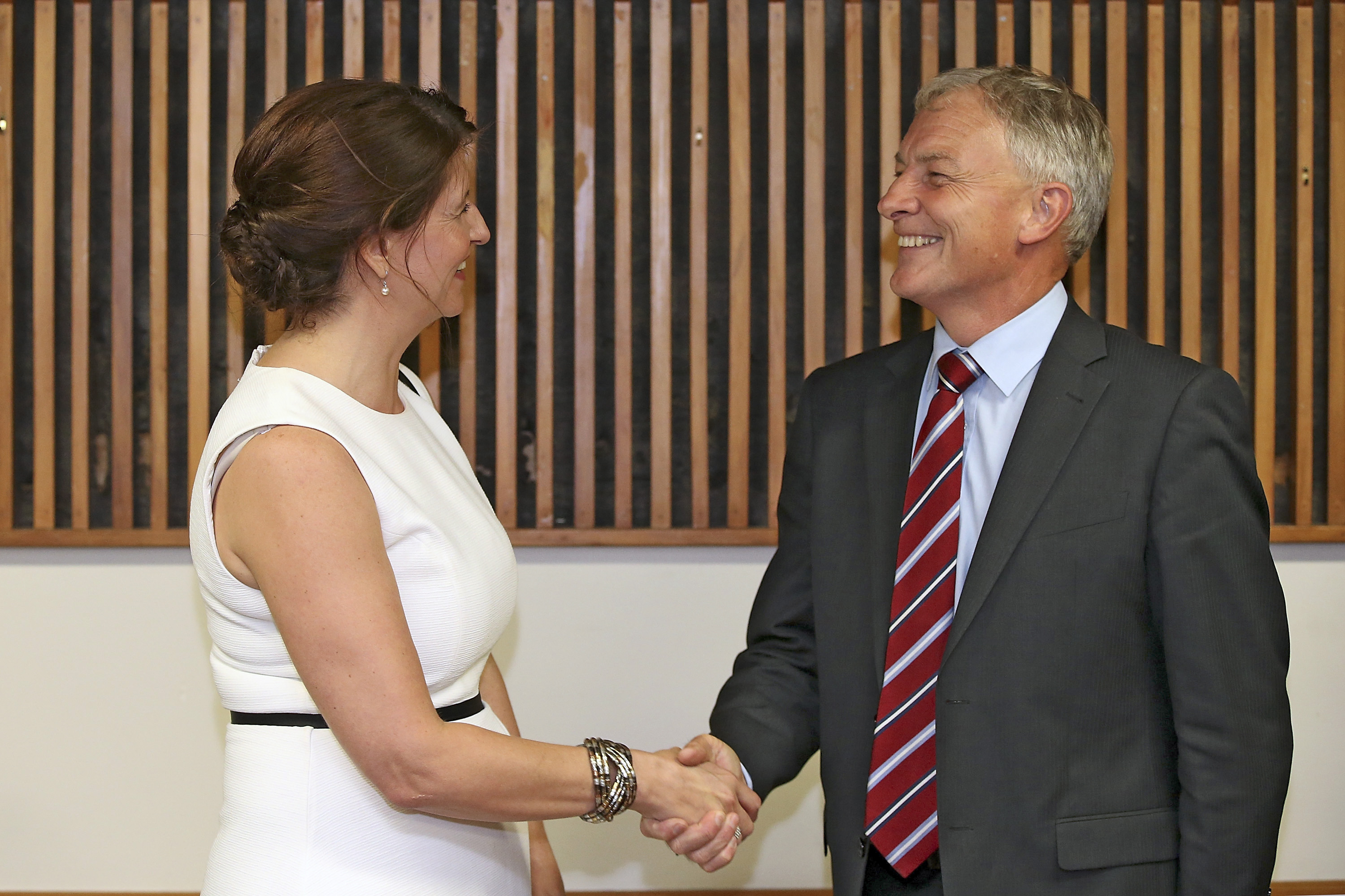 New besties? Centre-right candidate Vic Crone and centre-left candidate Phil Goff.