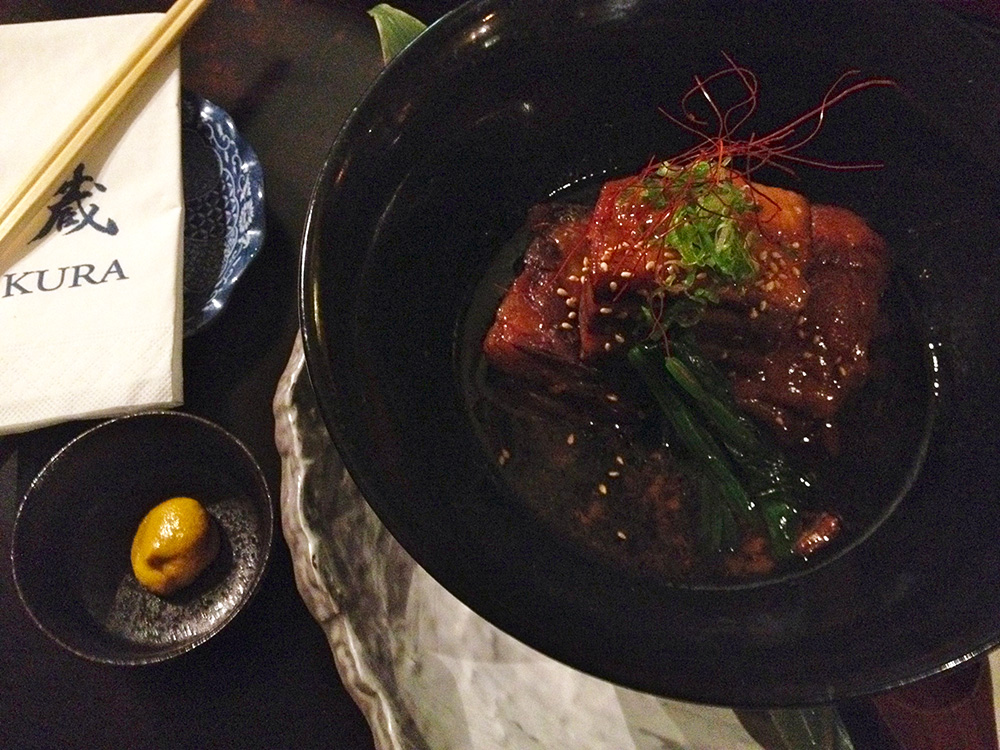 Braised pork belly at Kura. Photo by Delaney Mes for Metro. All rights reserved.