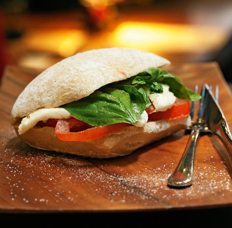 Elske's tomato, basil and mozzarella ciabatta sandwich