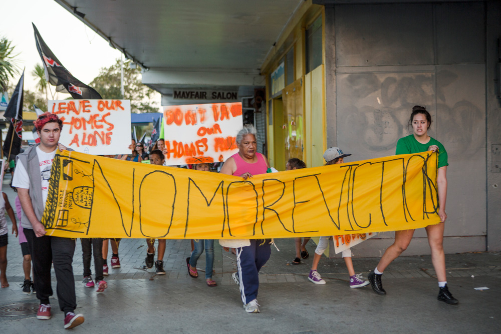 Tere Campbell (centre) in a protest march.
