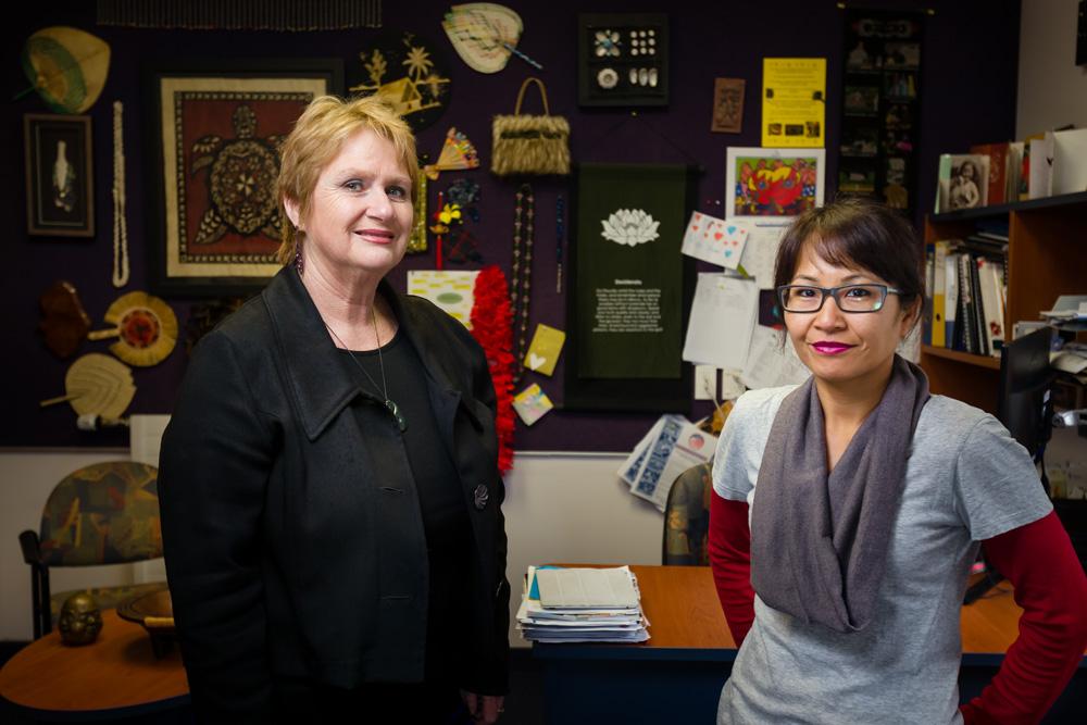 May Road School principal Lynda Stuart (left) and teacher Amavi Mey