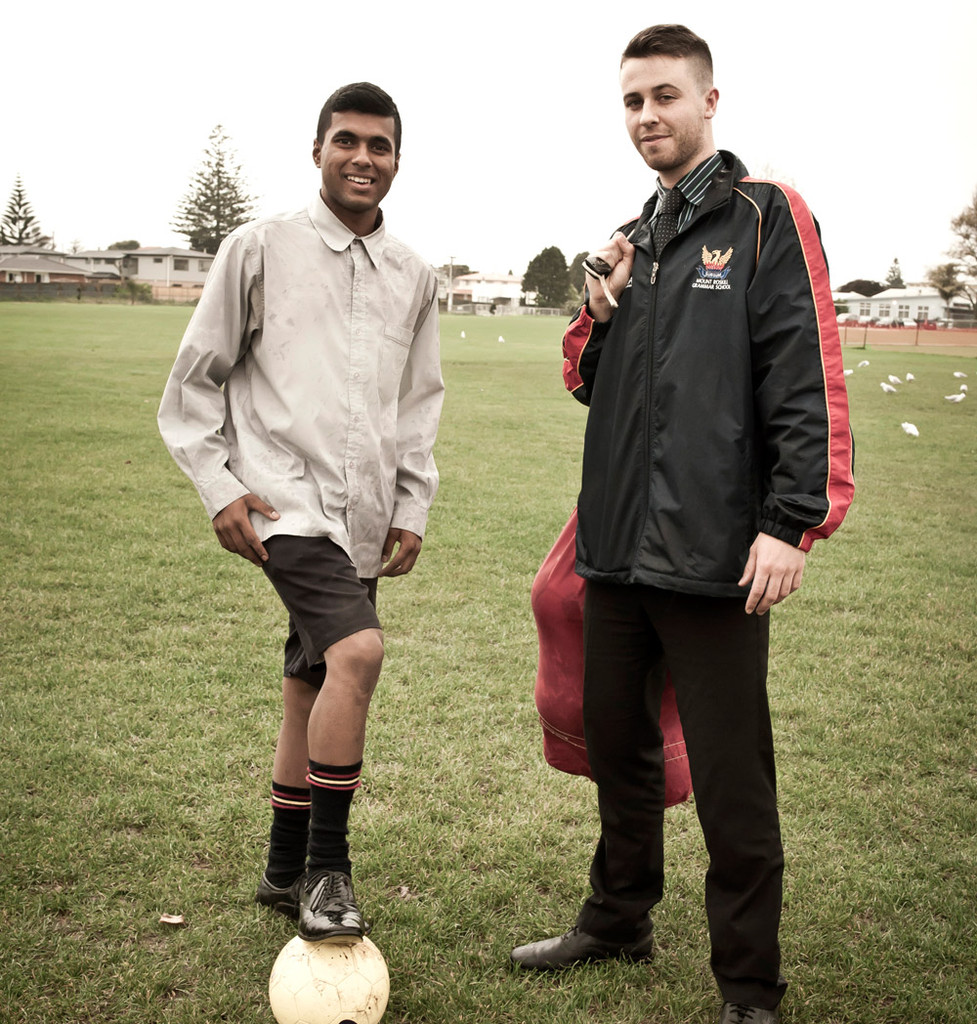 Mt Roskill Grammar 1st XI football captain Santosh Singh (left) and coach Callum Christopher