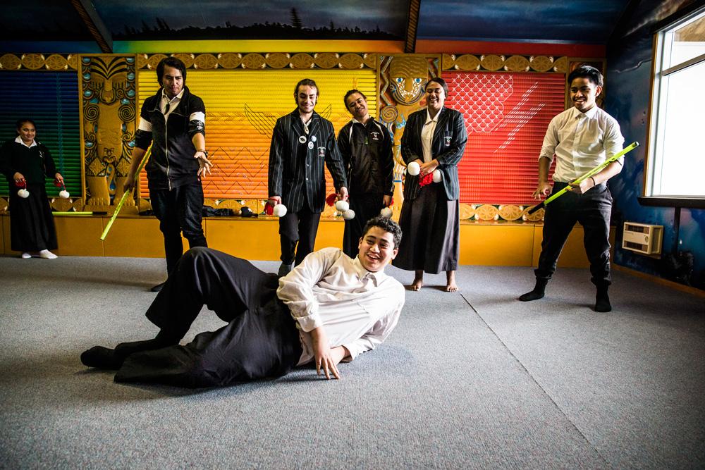 Standing, from left: Gailen Morgan-Tahapehi, Te Ruki Te Moana, Anamoerangi Papuni Barrett, Ruhia Henare-Samuels and Wakawiti Paratene. In front: Hautu Martin.