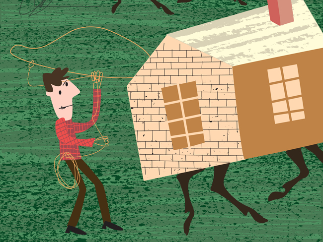 Illustration of cowboy lassooing houses