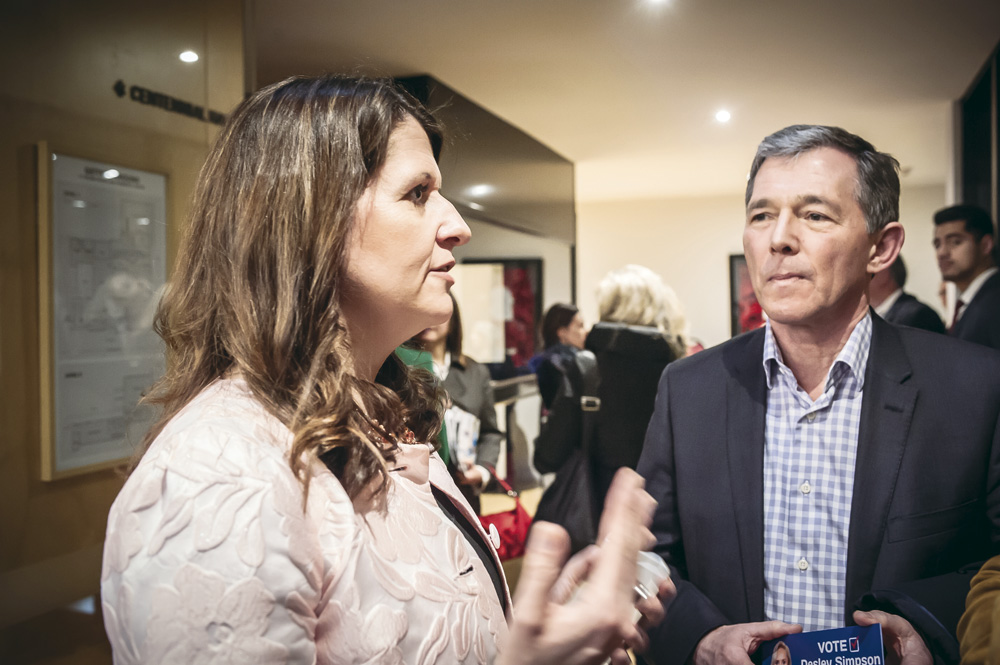 Crone with National Party president Peter Goodfellow.