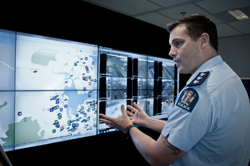 Inspector Rob Cochrane at the Waitemata District Command Centre. Photo by Simon Young.