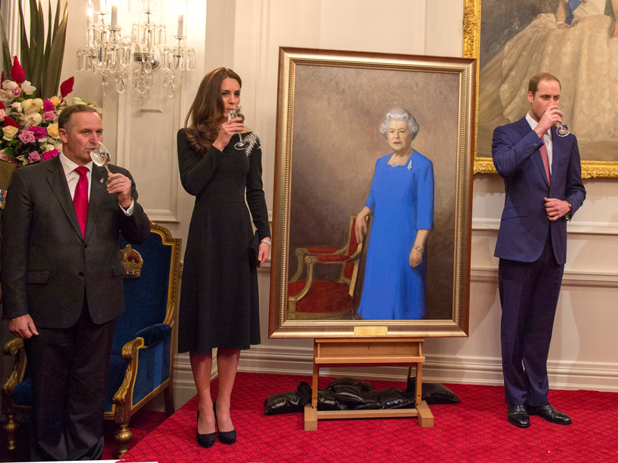 With the Duchess and Duke of Cambridge in Wellington, 2014.