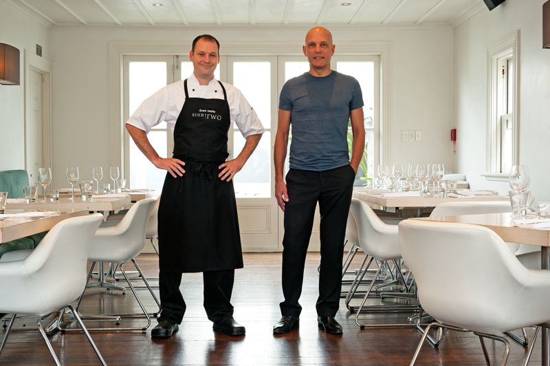 Chef Grant Mathie and owner Lindsay Swannack at Eight.Two restaurant, Auckland