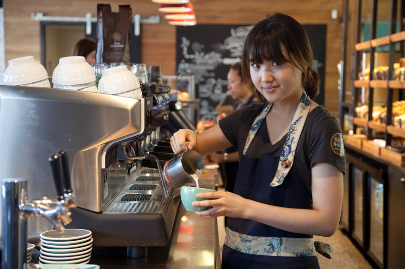 Barista at Bread and ButtBread & Butter cafe, Grey Lynn, Auckland.