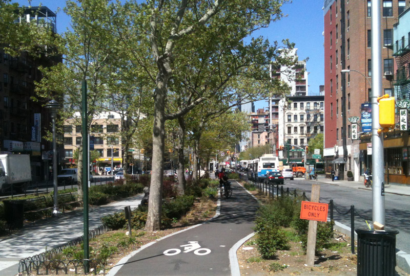 Separate bike lane in Brooklyn, New York. Photo by Gemma Gracewood.