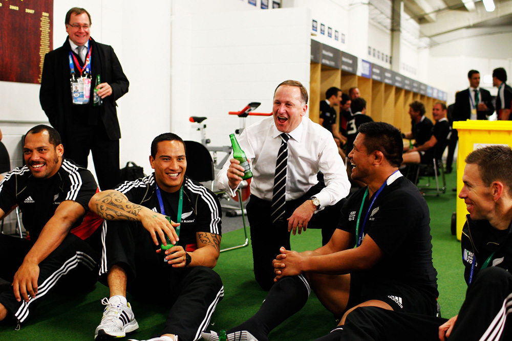 Celebrating the Rugby World Cup victory with the All Blacks in 2011.