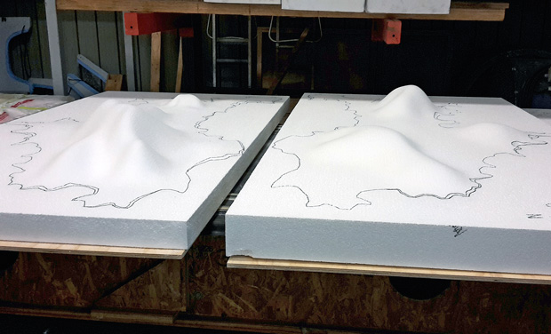 """Fabrication of the New Zealand Institute of Architects exhibition """"Islands"""" at Core Builders Composites factory in Warkworth."""