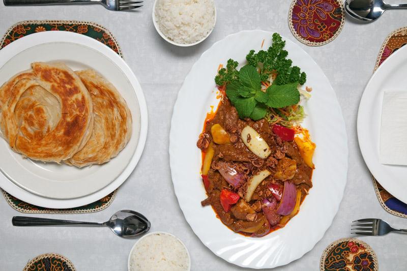 Dishes at Sri Pinang restaurant, Auckland