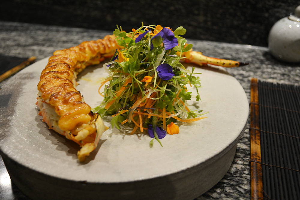 Alaskan king crab at Masu. Photo: Delaney Mes for Metro. All rights reserved.