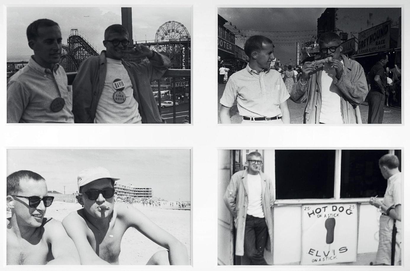 Barrie Bates with David Hockney at Coney Island in New York, 1961.