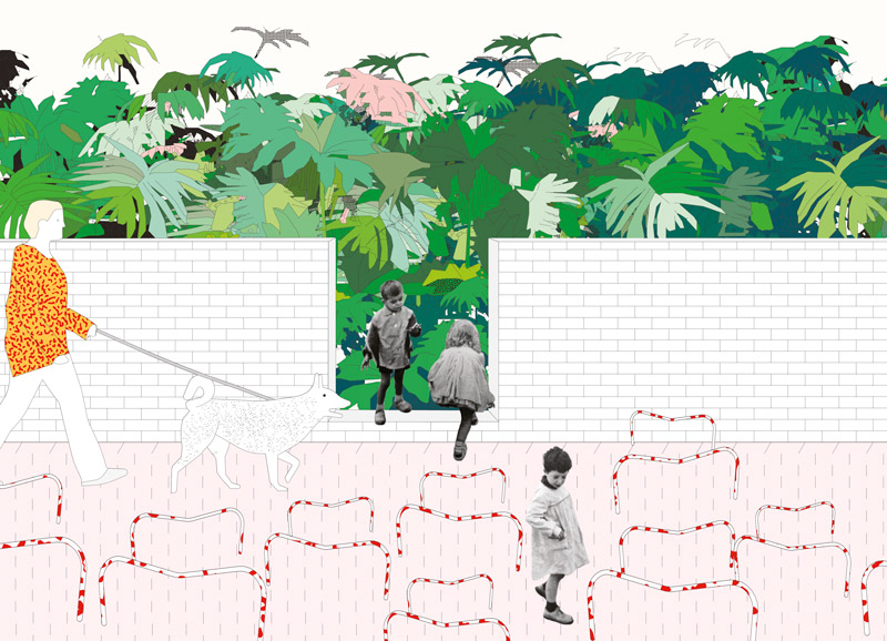 Entrance to Rousseau's Jungle: A space intended to evoke a nostalgic reverie, lamenting the loss of a time when children had a formal place in the city.