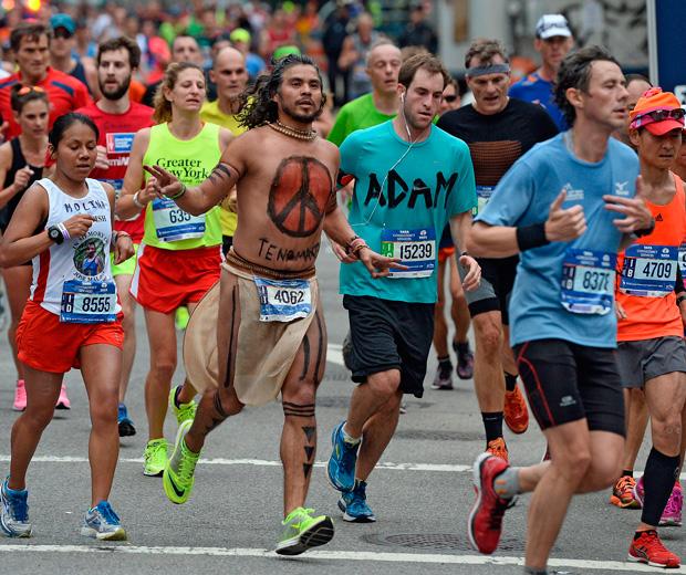 The New York marathon's colourful participants.