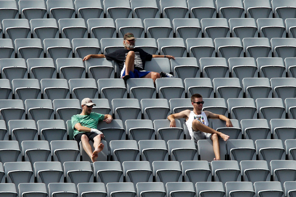 Scores of empty seats at Eden Park for the test cricket.