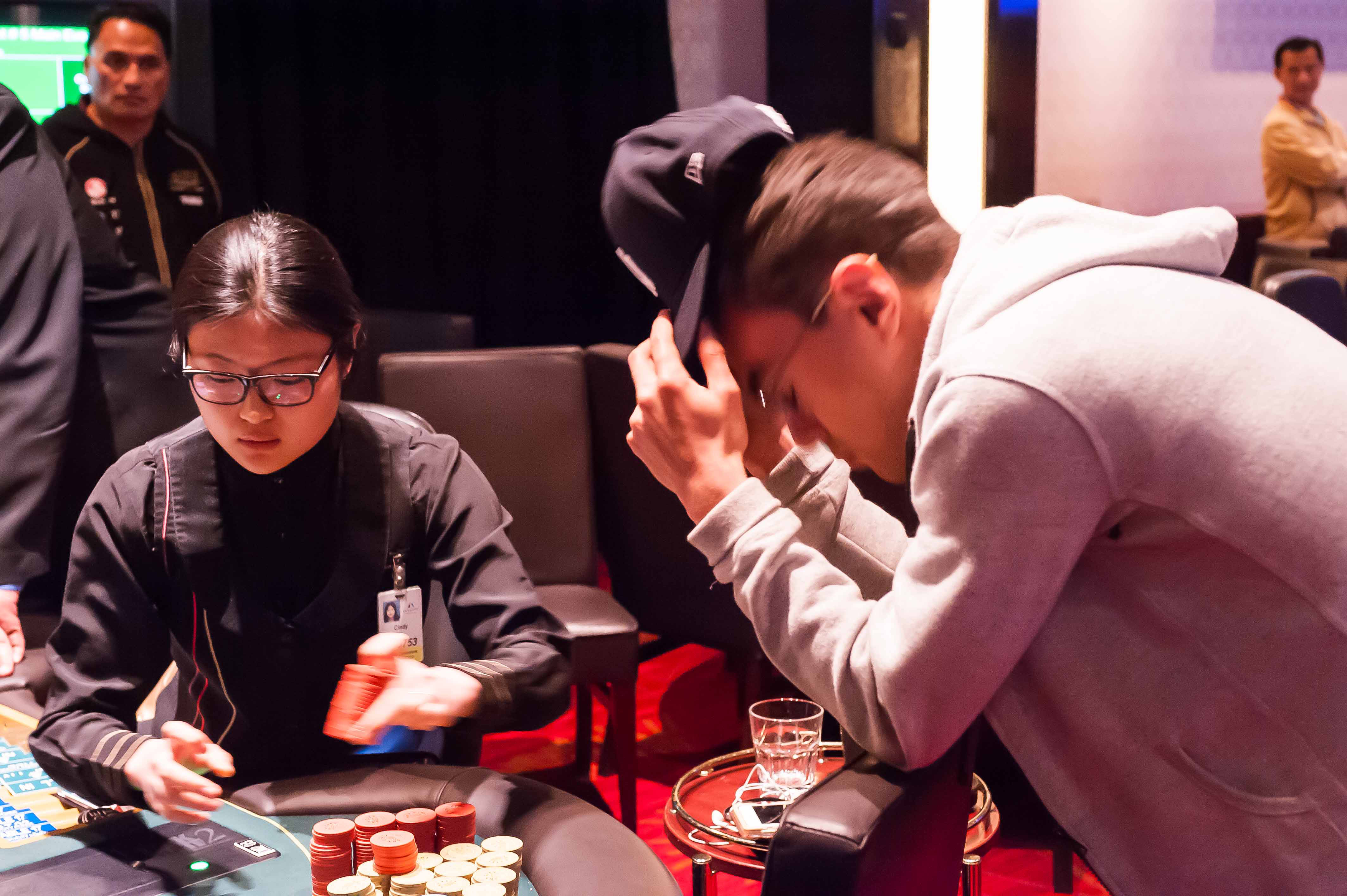 Heartbreak on the river: the moment Lowrie is eliminated from the main event.