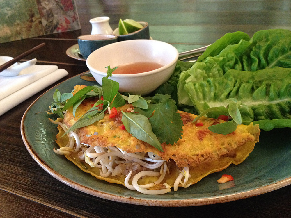 Banh Xeo (pancake) at Café Hanoi. Photo: Delaney Mes for Metro. All rights reserved.