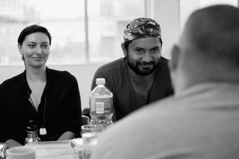 Mia Blake and Jacob Rawiri in rehearsals for Angels in America