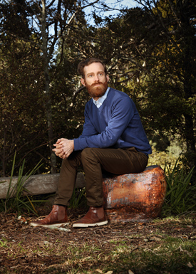 Finn McCahon-Jones on the stool made by his grandmother Anne. Photo/Meek Zuiderwyk