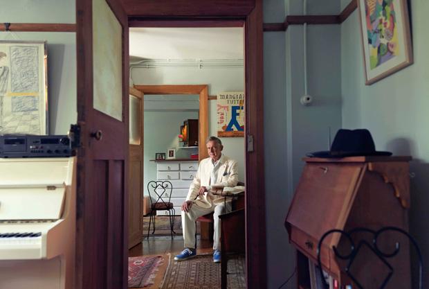 Grant Chilcott in his courtville flat.