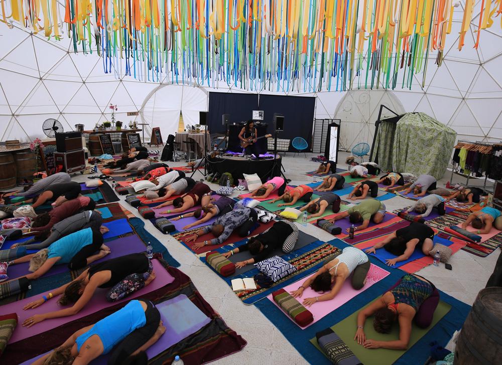 Yoga with live music. Photo: Doug Brooks.