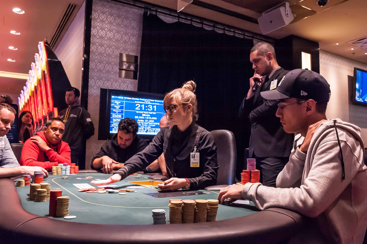 Tamihana and Lowrie face off at the main event's final table.