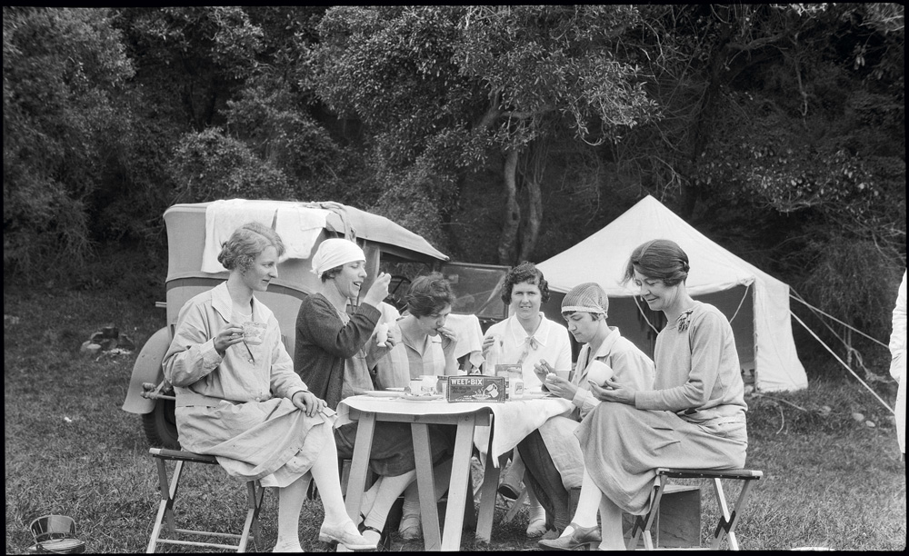 Camp breakfast with Weet-bix, and tea in china cups, 1939.