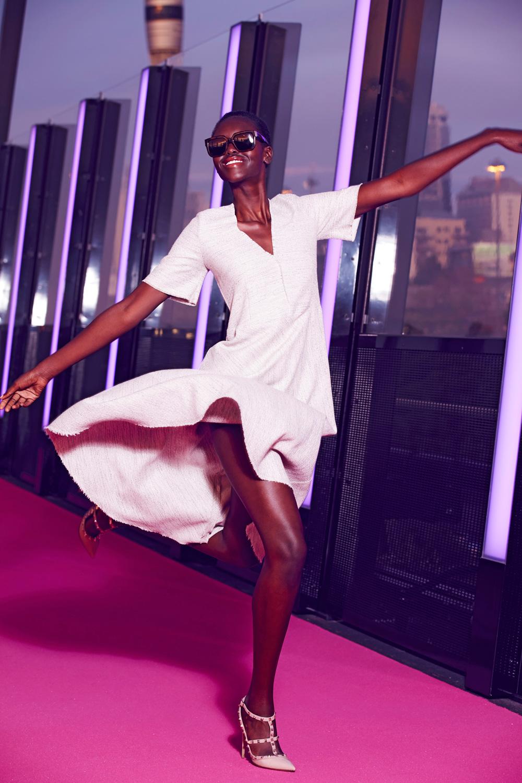 Harman Grubiša Daria Dress in Natural, $495. harmangrubisa.com Valentino Rockstud ankle strap, $1480. valentino.com/nz CÉline Audrey Sunglasses, $440. celine.com/en