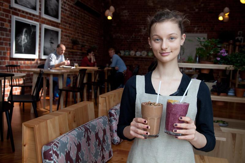Waitress at Little Bird Unbakery, Auckland