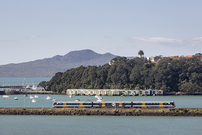 Crossing the Orakei Basin by electric train.