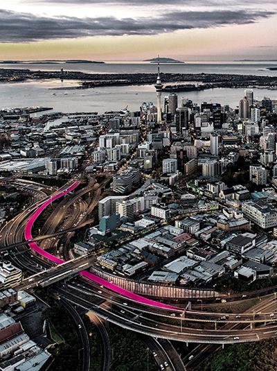 Auckland's pink cycleway, aka Te Ara I Whiti.