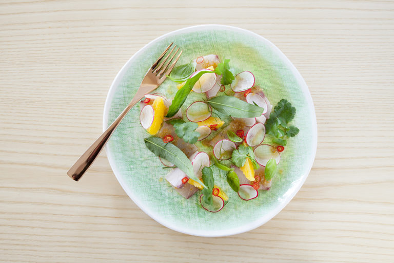 Tiradito salad with kingfish, apple, grapefruit, radish and chilli