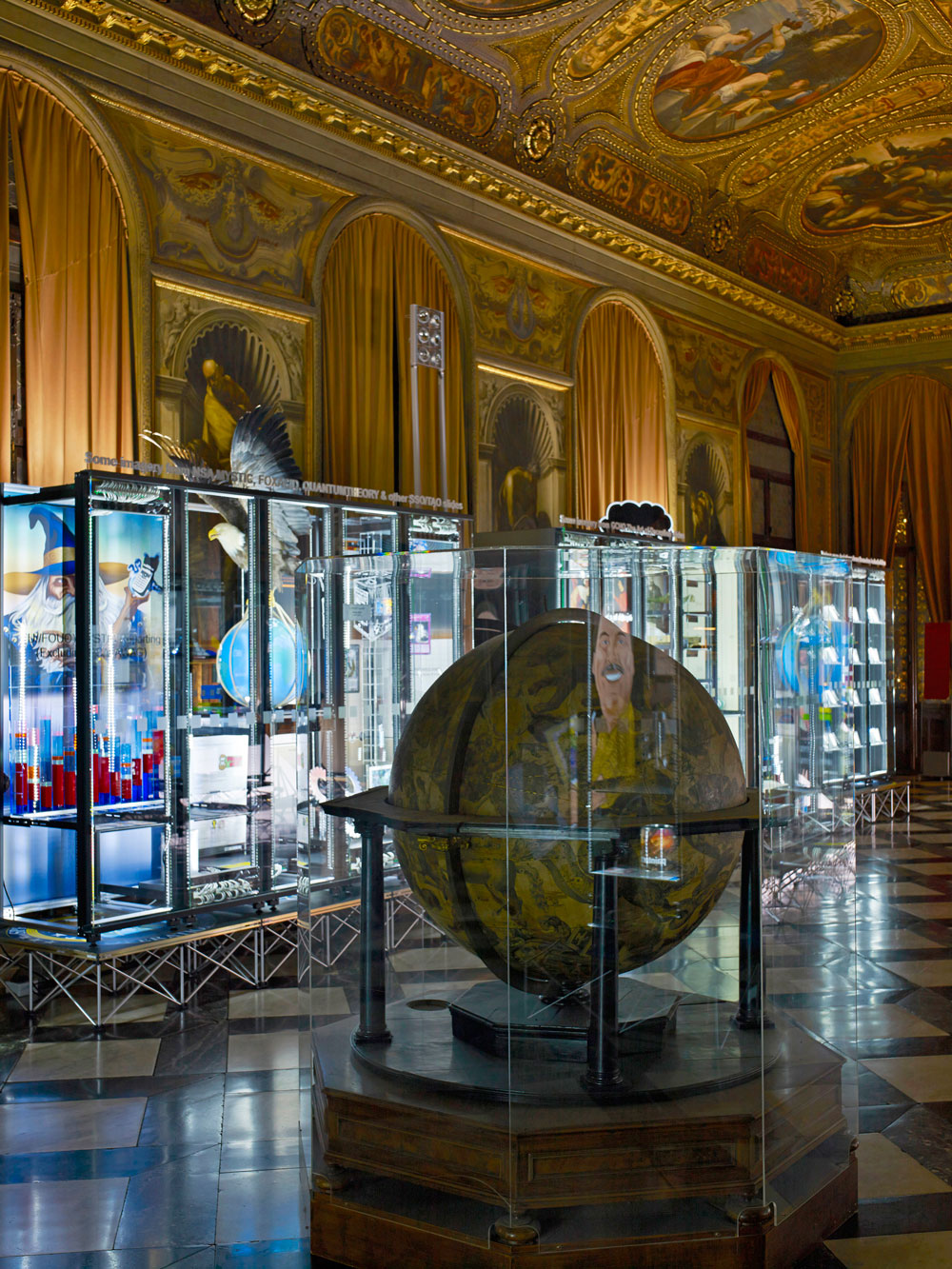 Vincenzo Coronelli globes and Simon Denny Secret Power server racks in the Marciana Library