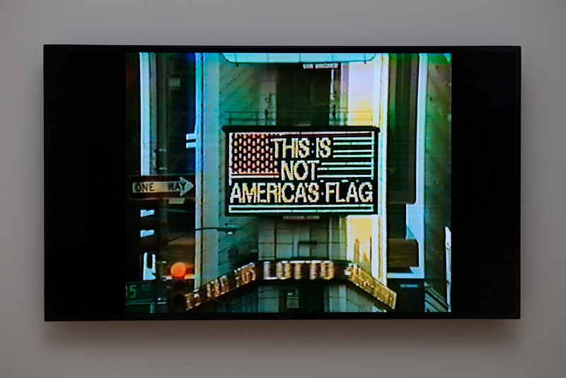 Alfredo Jaar's A Logo For America in New York's Times Square in 1987.