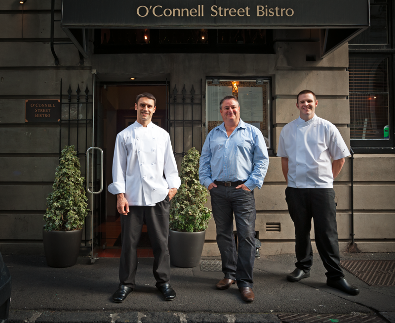Alex Strobach, Chris Upton and Andrew Lautenbach at O'Connell Street Bistro, Auckland