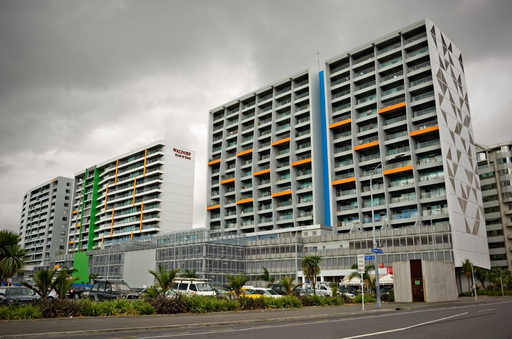 The fruits of laissez-faire planning: the Scene Apartments on Beach Rd, with carparks on the first three floors.