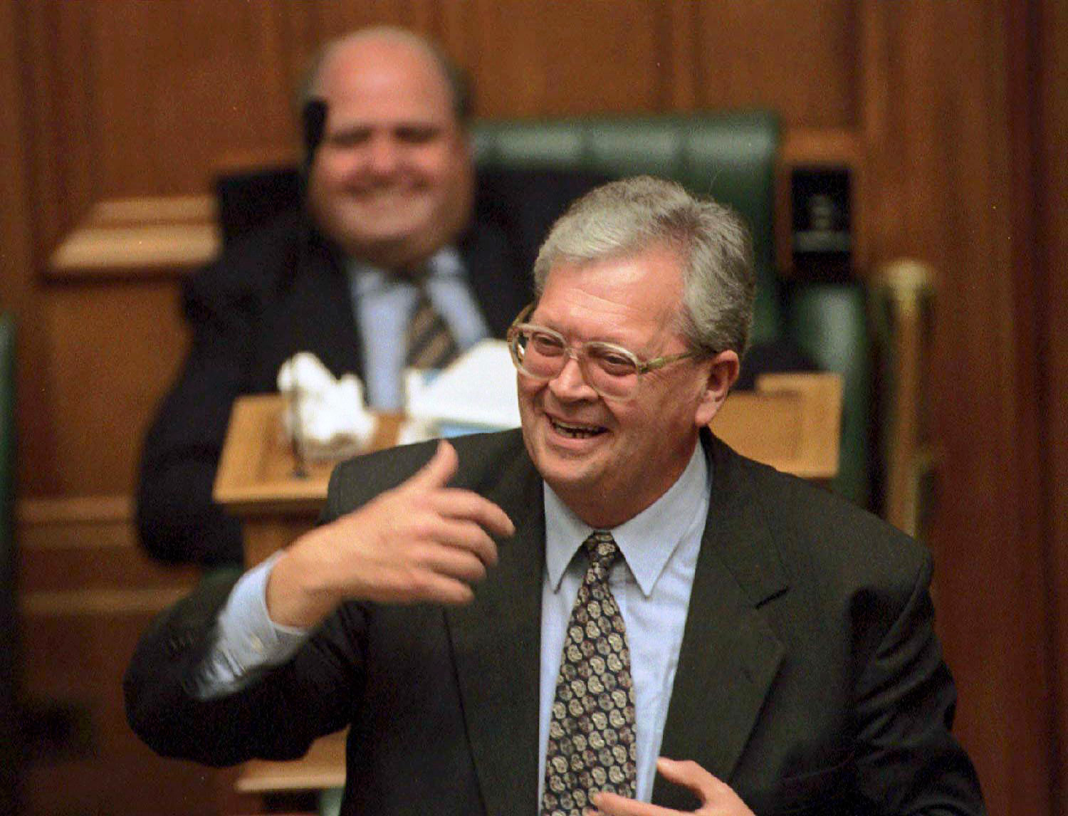 Former prime minister David Lange gives his valedictory speech in parliament. Photo: Getty.