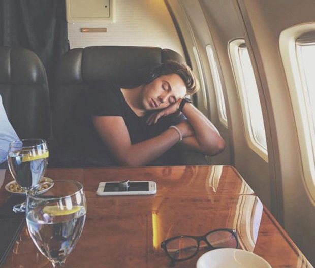 Asleep on the American president's plane, Airforce One.